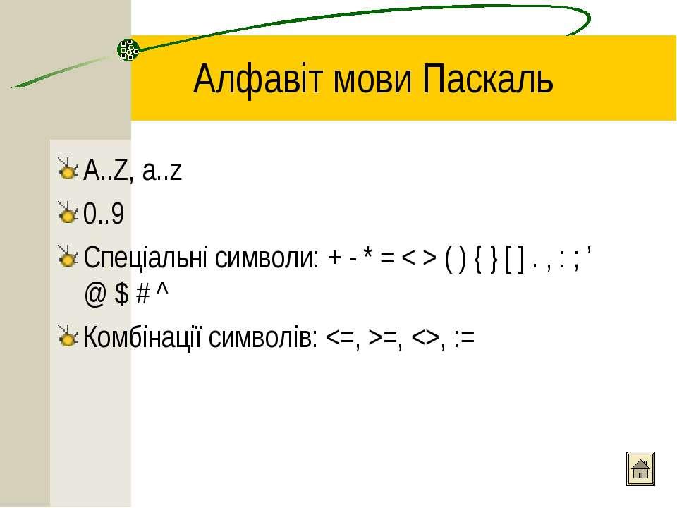 Алфавіт мови Паскаль A..Z, a..z 0..9 Спеціальні символи: + - * = < > ( ) { } ...