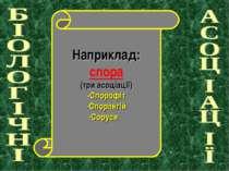 Наприклад: спора (три асоціації) -Спорофіт -Спорангій -Соруси