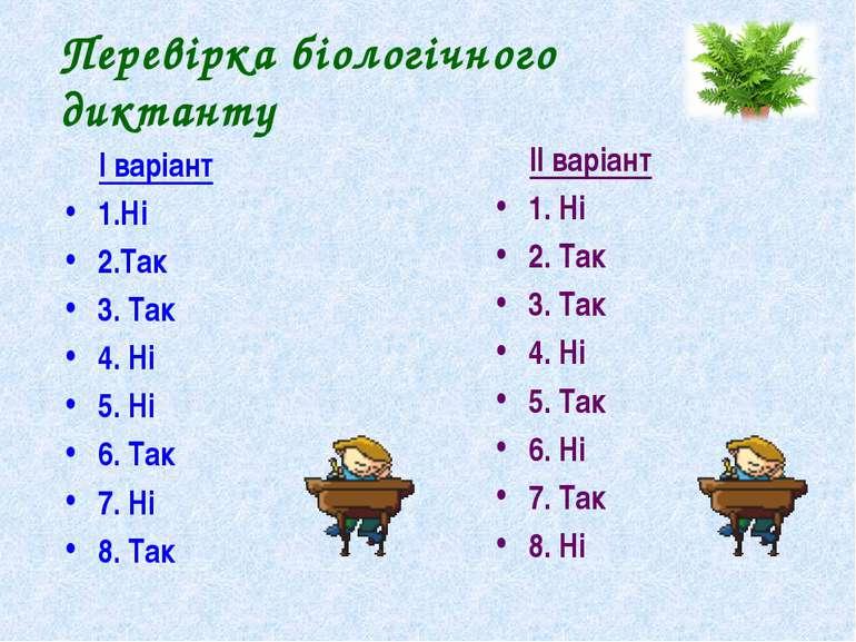 Перевірка біологічного диктанту І варіант 1.Ні 2.Так 3. Так 4. Ні 5. Ні 6. Та...