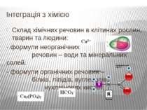 Склад хімічних речовин в клітинах рослин, тварин та людини: - формули неорган...