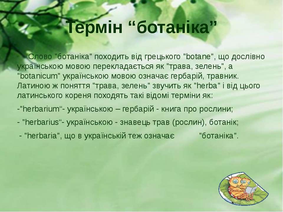 """Термін """"ботаніка"""" Слово """"ботаніка"""" походить від грецького """"botane"""", що дослів..."""