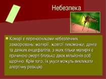 Комарі є переносниками небезпечних захворювань: малярії, жовтої лихоманки, де...