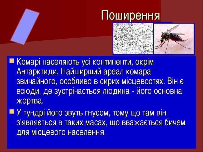 Комарі населяють усі континенти, окрім Антарктиди. Найширший ареал комара зви...