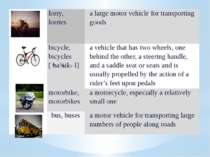 lorry,lorries a large motor vehicle for transporting goods bicycle, bicycles ...