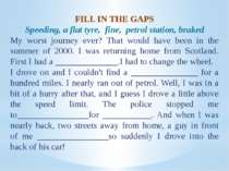 FILL IN THE GAPS Speeding, a flat tyre, fine, petrol station, braked My worst...