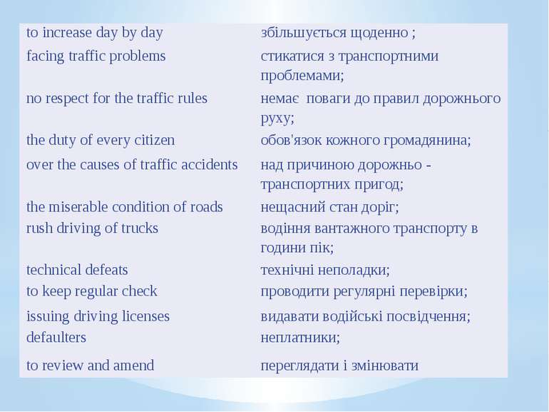 to increase day by day збільшується щоденно ; facing traffic problems стика...