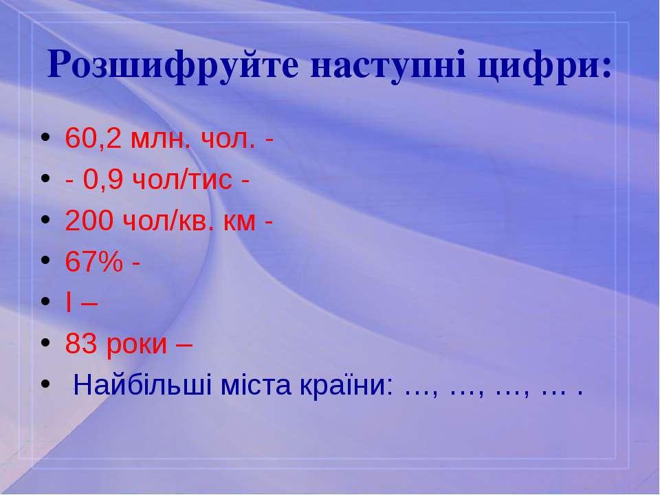 Розшифруйте наступні цифри: 60,2 млн. чол. - - 0,9 чол/тис - 200 чол/кв. км -...