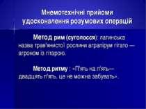 Мнемотехнічні прийоми удосконалення розумових операцій Метод рим (суголосся):...