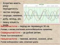 Біоритми мають різну періодичність: частки секунди, секунди, хвилини, добу, м...