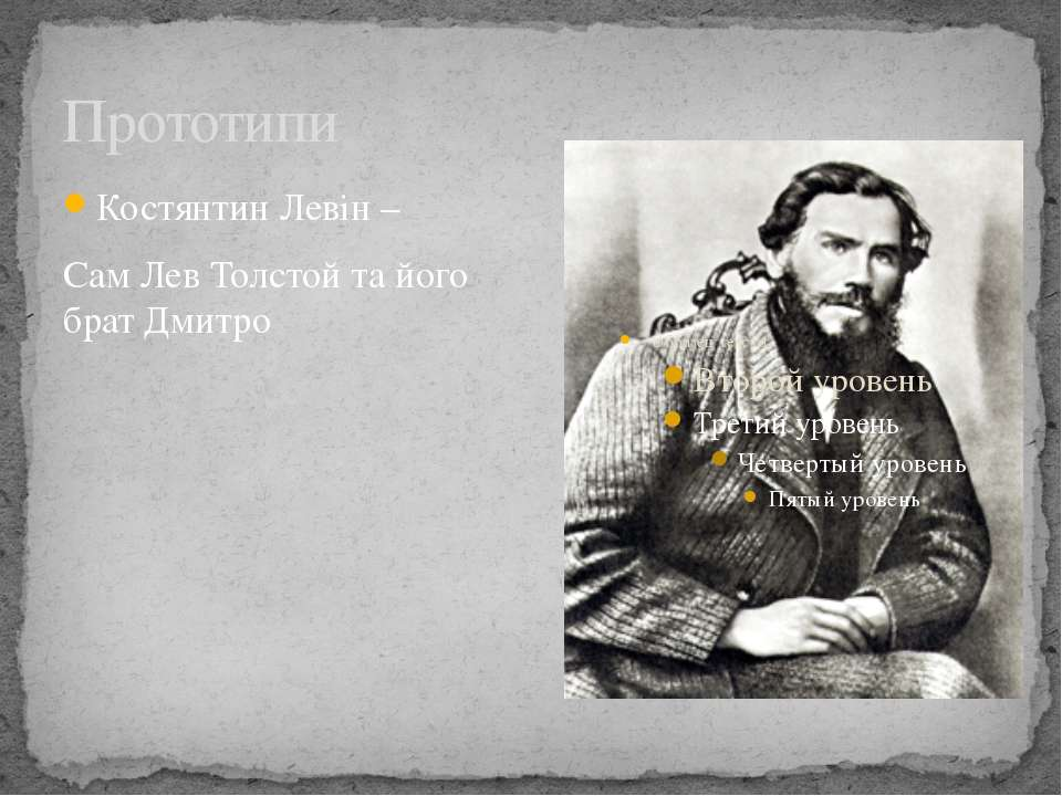 Прототипи Костянтин Левін – Сам Лев Толстой та його брат Дмитро