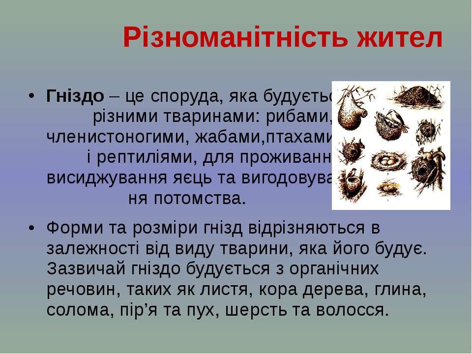 Гніздо – цеспоруда, яка будується різними тваринами: рибами, членистоногими,...