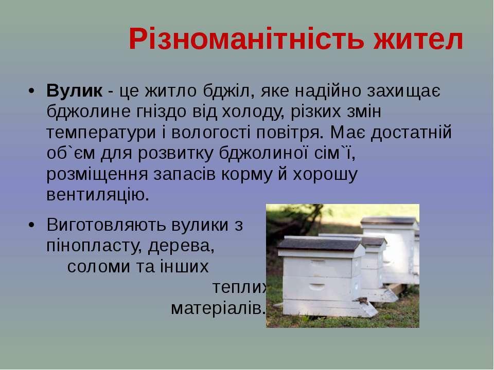 Вулик - це житлобджіл, яке надійно захищає бджолине гніздо від холоду, різки...