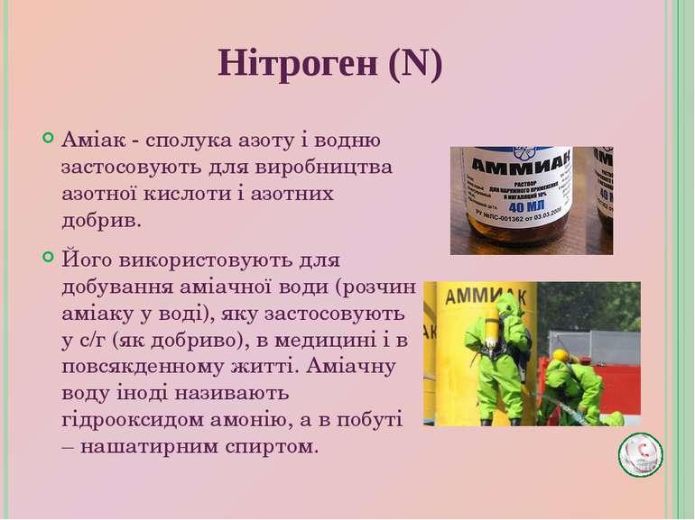 Аміак - сполука азоту і водню застосовують для виробництва азотної кислоти і ...