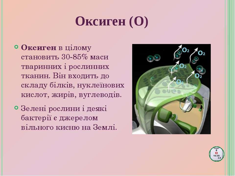 Оксиген (О) Оксиген в цілому становить 30-85% маси тваринних і рослинних ткан...