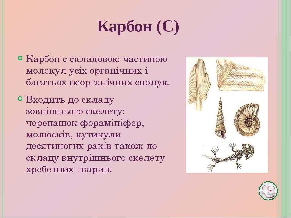 Карбон є складовою частиною молекул усіх органічних і багатьох неорганічних с...