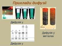 Приклади дифузії Дифузія у рідинах Дифузія у рідинах Дифузія у металах
