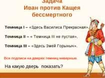 Задача Иван против Кащея бессмертного Темница I – «Здесь Василиса Прекрасная»...