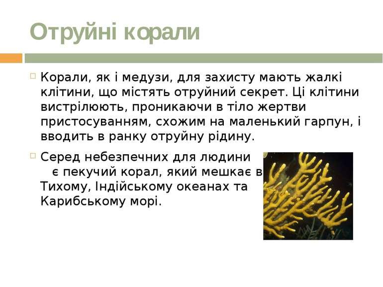 Отруйні корали Корали, як імедузи,для захисту мають жалкі клітини, що містя...