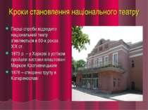 Кроки становлення національного театру Перші спроби відродити національний те...
