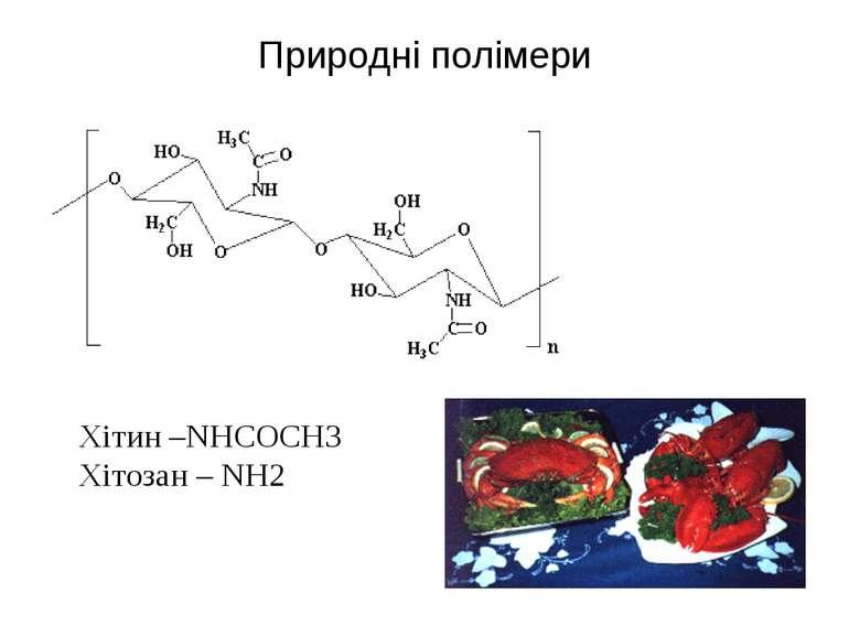 Природні полімери Хітин –NHCOCH3 Хітозан – NH2