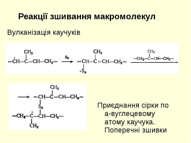 Реакції зшивання макромолекул Вулканізація каучуків Приєднання сірки по а-вуг...