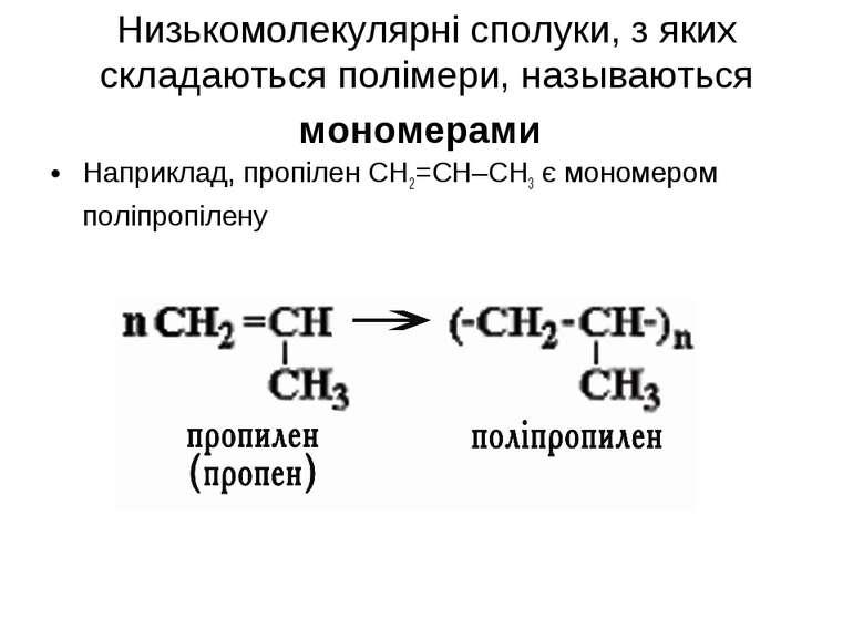 Низькомолекулярні сполуки, з яких складаються полімери, называються мономерам...