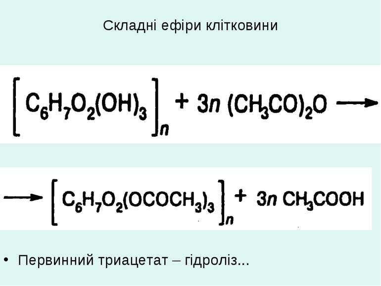 Складні ефіри клітковини Первинний триацетат – гідроліз...