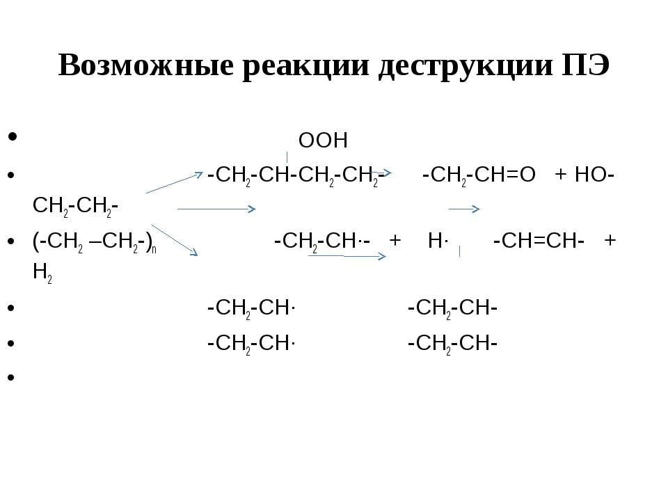 Возможные реакции деструкции ПЭ OOH -CH2-CH-CH2-CH2- -CH2-CH=O + HO-CH2-CH2- ...