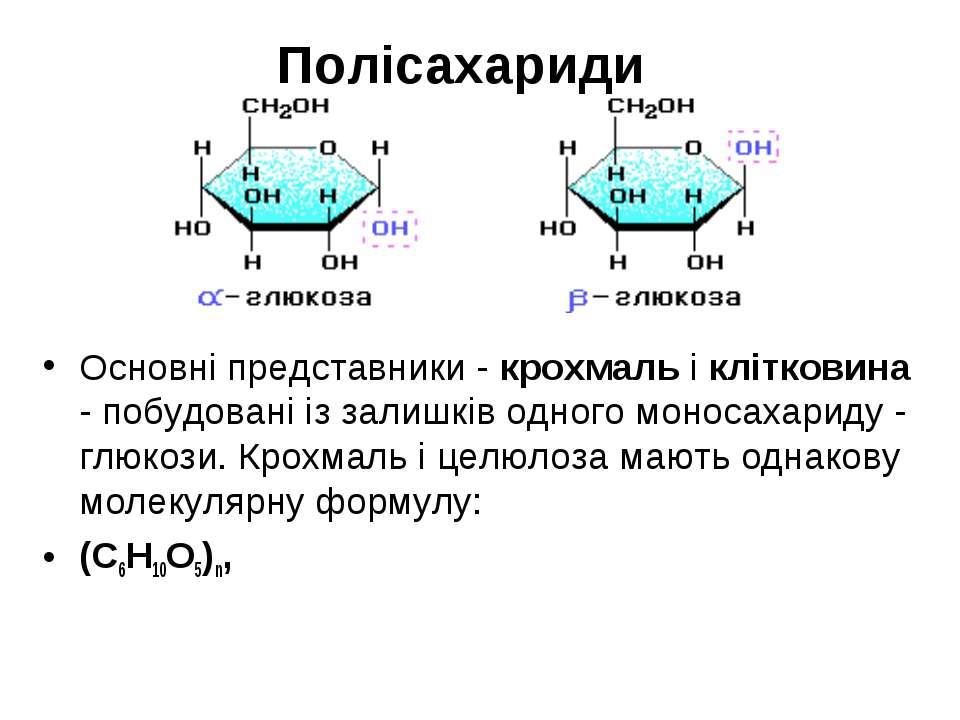Полісахариди Основні представники - крохмаль і клітковина - побудовані із зал...