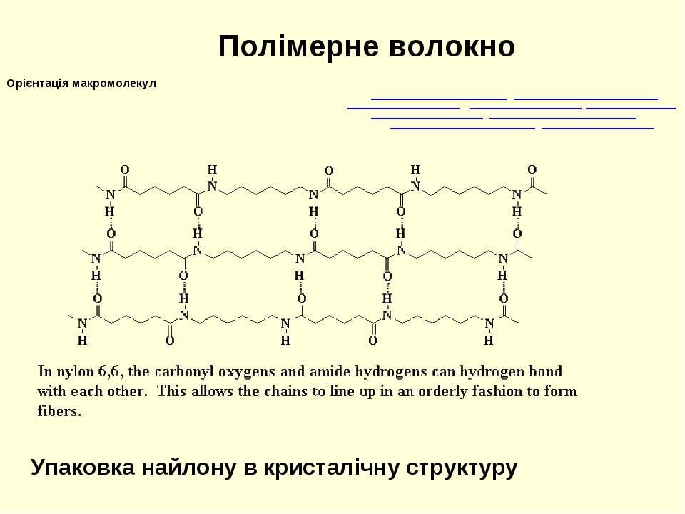 Полімерне волокно Орієнтація макромолекул Упаковка найлону в кристалічну стру...