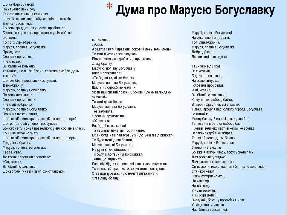Дума про Марусю Богуславку Що на Чорному морі, На камені біленькому, Там стоя...