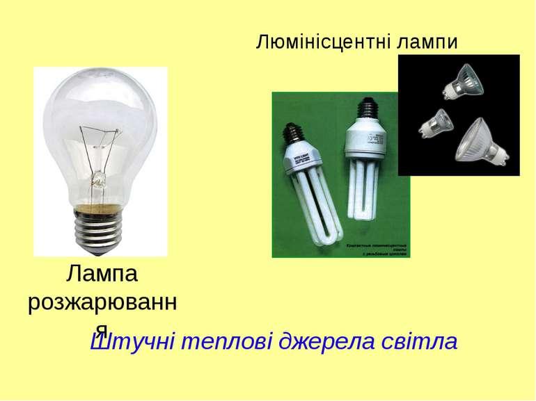 Люмінісцентні лампи Лампа розжарювання Штучні теплові джерела світла
