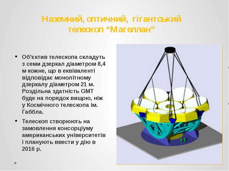 "Наземний, оптичний, гігантський телескоп ""Магеллан"" Об'єктив телескопа складу..."
