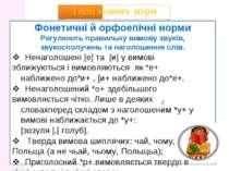 Типи мовних норм Фонетичні й орфоепічні норми Регулюють правильну вимову звук...