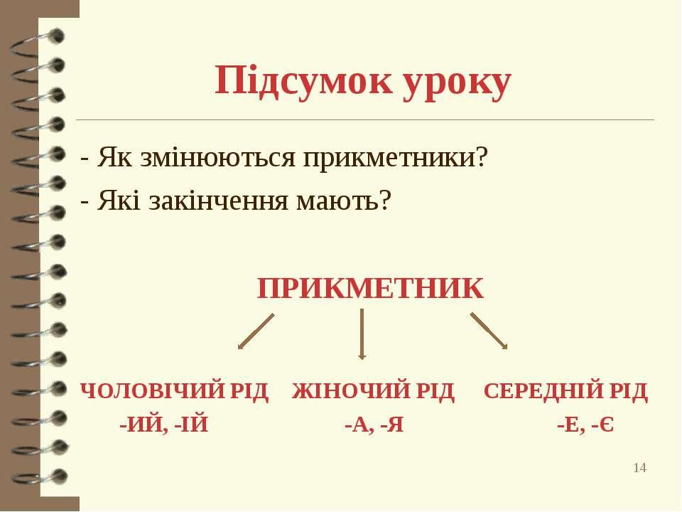 Підсумок уроку - Як змінюються прикметники? - Які закінчення мають? ПРИКМЕТНИ...