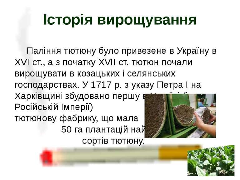 Паління тютюну було привезене в Україну в ХVІ ст., а з початку ХVІІ ст. тютюн...