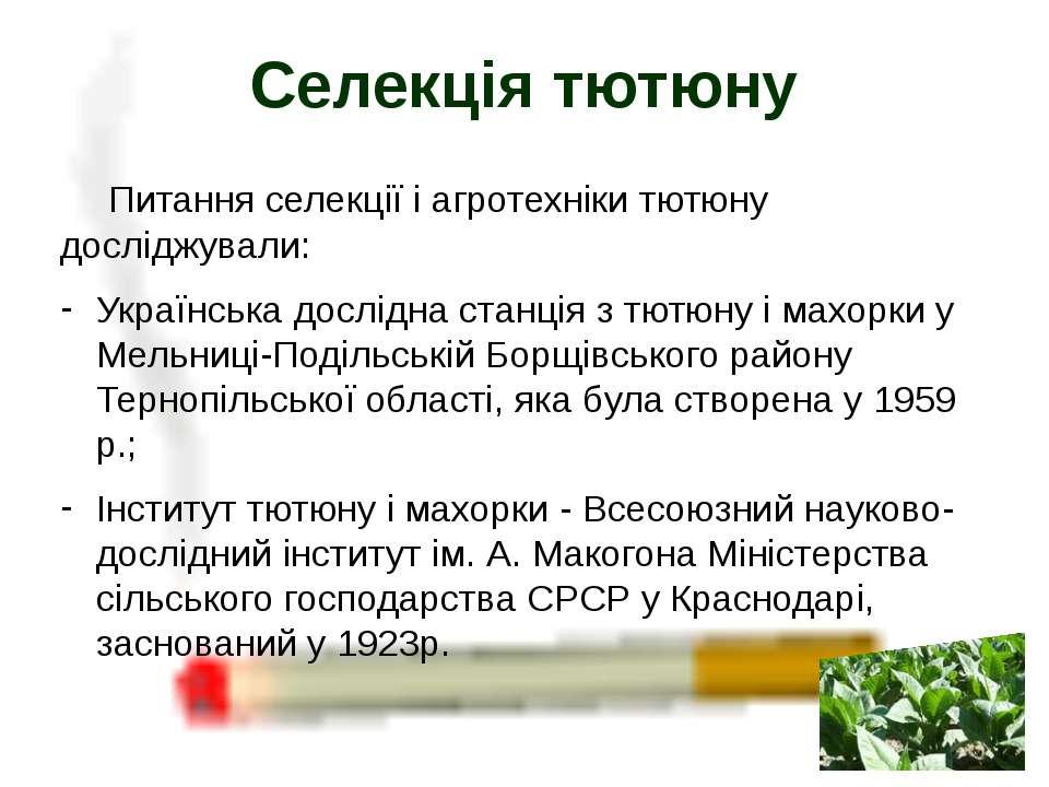 Питання селекції і агротехніки тютюну досліджували: Українська дослідна станц...