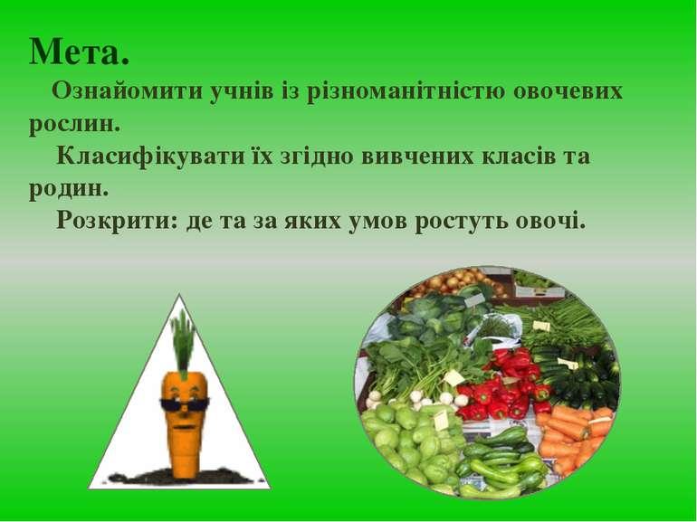 Мета. Ознайомити учнів із різноманітністю овочевих рослин. Класифікувати їх з...