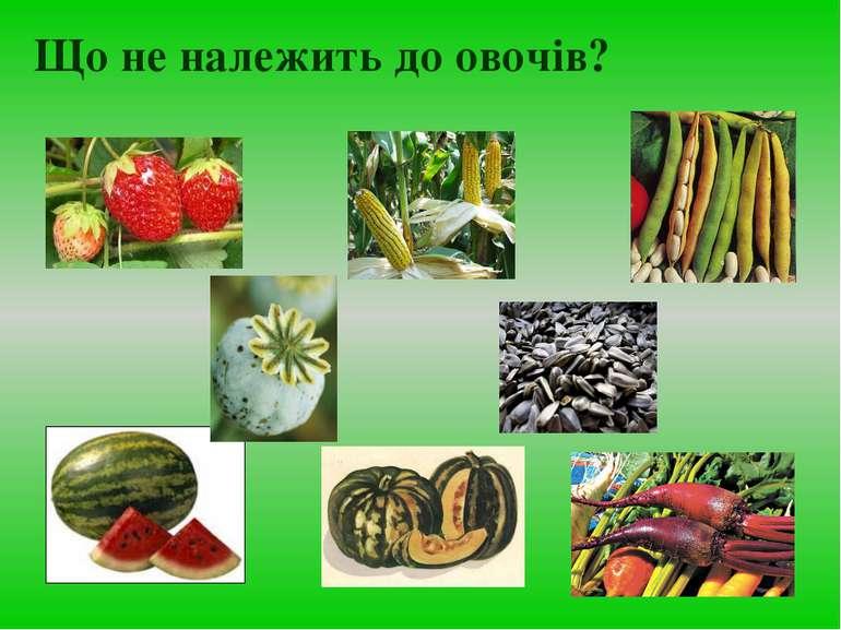 Що не належить до овочів?