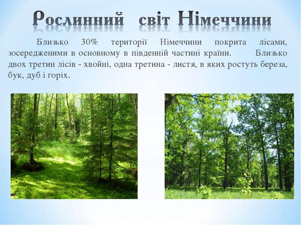 Близько 30% території Німеччини покрита лісами, зосередженими в основному в п...