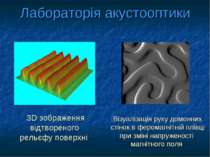 Лабораторія акустооптики 3D зображення відтвореного рельєфу поверхні Візуаліз...