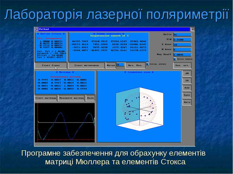 Лабораторія лазерної поляриметрії Програмне забезпечення для обрахунку елемен...