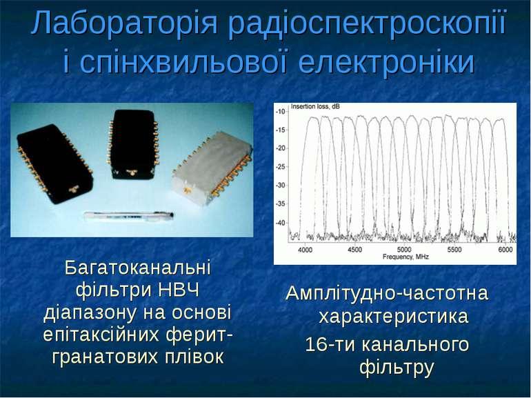 Лабораторія радіоспектроскопії і спінхвильової електроніки Багатоканальні філ...