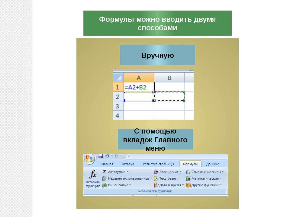 Формулы можно вводить двумя способами Вручную С помощью вкладок Главного меню