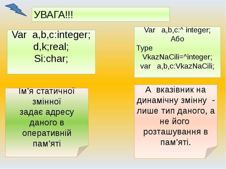 УВАГА!!! Var a,b,c:integer; d,k;real; Si:char; Var a,b,c:^ integer; Або Type ...