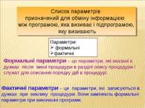 Формальні параметри – це параметри, які вказані в дужках після імені процедур...