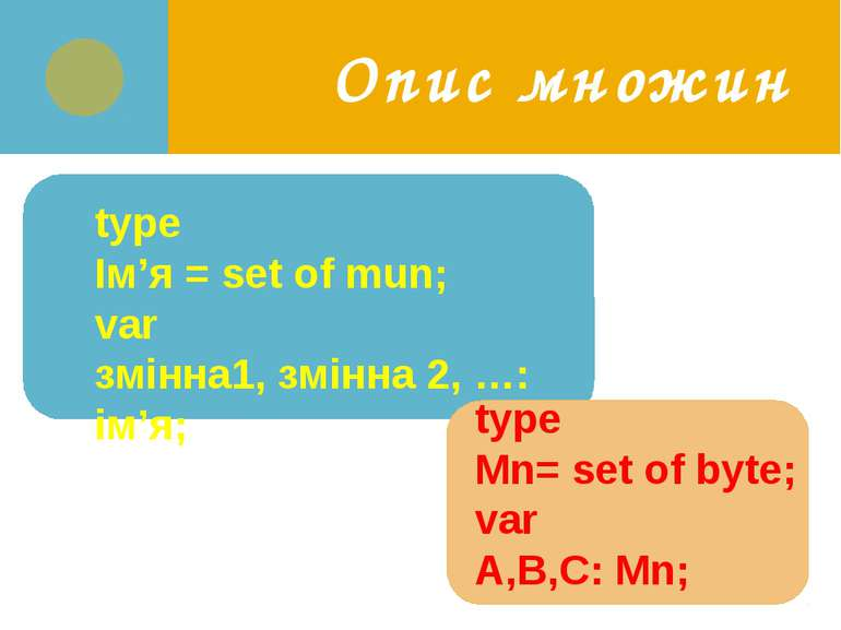 Опис множин type Ім'я = set of mun; var змінна1, змінна 2, …: ім'я; type Mn= ...