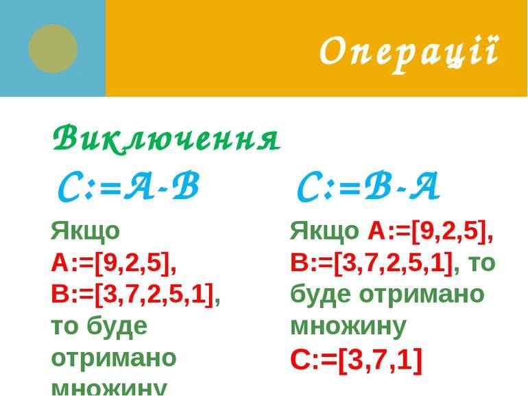 Операції Виключення C:=A-B C:=В-А Якщо A:=[9,2,5], B:=[3,7,2,5,1], то буде от...