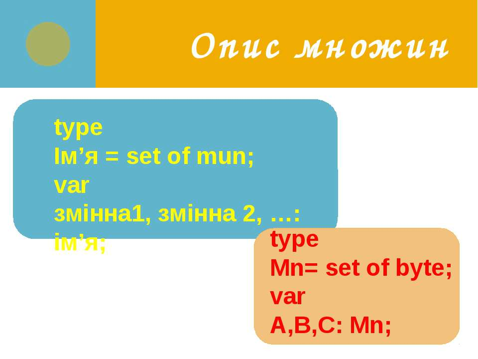 Опис множин type Ім'я = set of mun; var змінна1, змінна 2, …: ім'я; type Mn= ...