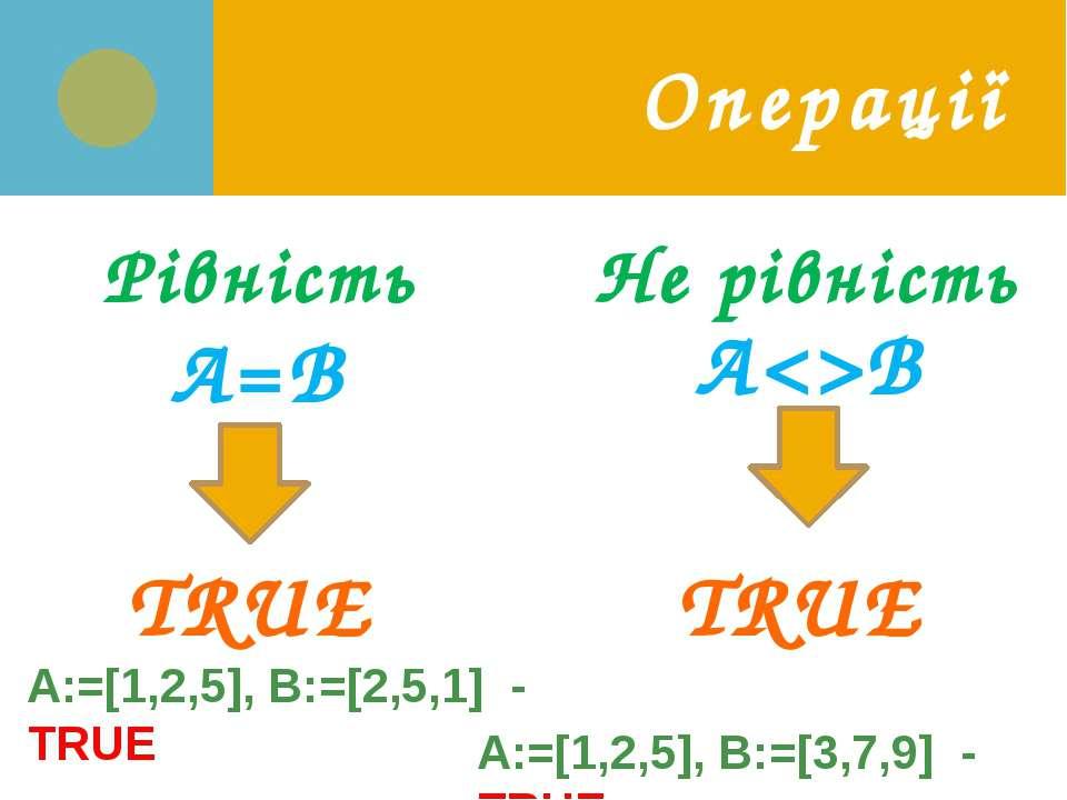 Операції Рівність A=B TRUE A:=[1,2,5], B:=[2,5,1] - TRUE AB Не рівність TRUE ...